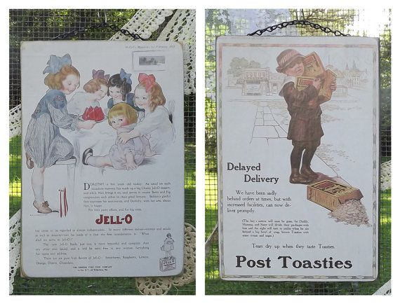 Post Toasties and Jell-O Advertisements from Nostalgia Plaques. I love these vintage magazine advertisements. The children in the ads are just so adorable!