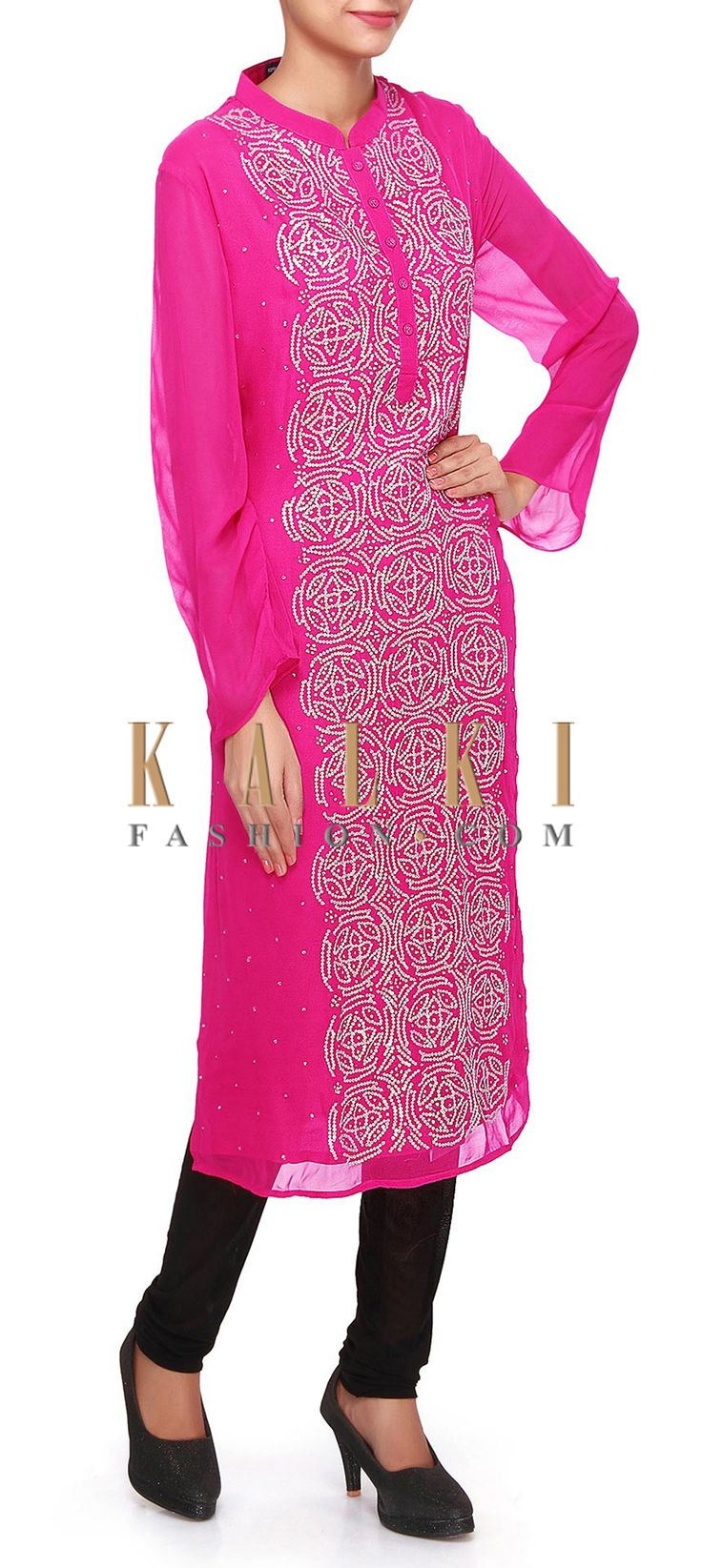 Buy Online from the link below. We ship worldwide (Free Shipping over US$100). Product SKU - 307956.Product Link - http://www.kalkifashion.com/fuchsia-pink-kurti-embellished-in-sequin-embroidery-only-on-kalki.html