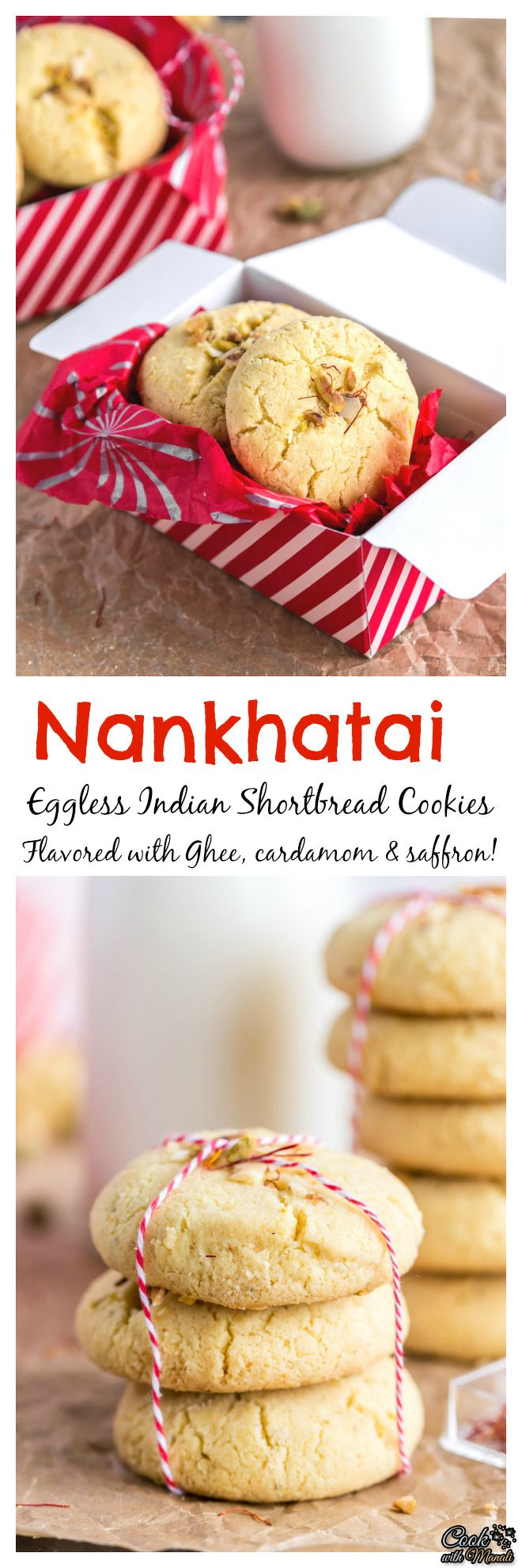 Nankhatai-CollageEggless Indian Shortbread Cookies – Nankhatai are very popular during the festive season. These are flavored with ghee, cardamom and saffron and will melt in your mouth! #cookies #eggless #indian #cardamom #saffrom #holidays