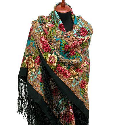 Шали 148х148 : Счастливица 1122-30, павлопосадский платок (шаль) из уплотненной шерсти с шелковой вязанной бахромой