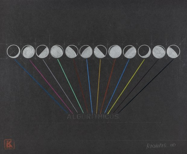 Leandro Katz - Algoritmicos, 1981. Graphite and colored pencil on paper, 10 3/4 x 13 3/4 in. (27.3 x 34.9 cm.)