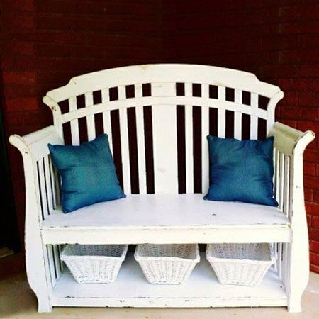 cot or crib bench repurposed from crib  Think we can do this with ours!!!  LOVE THIS!