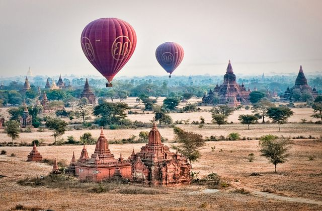Burma: The historic region of Bagan is well-known for its massive collection of ancient temples, Balloons Over Bagan, takes travelers up in the air to see the magical structures from above. The religious structures were built between the 11th and 13th century.: Hot Air Balloon, Air Balloon Riding, Africans Safari, African Safari, The View, Hotairballoon, Places, Adventure Travel, Balloons