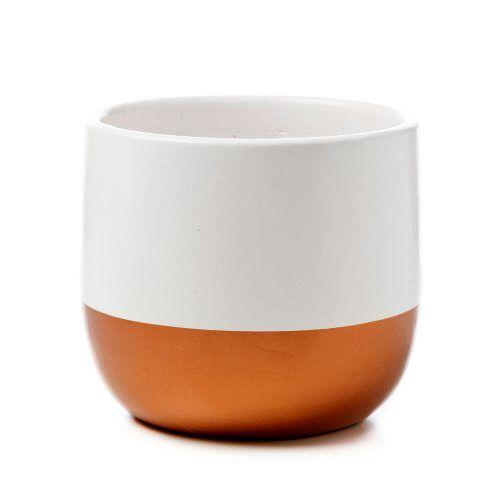 Gazi Indoor Pot White & Copper