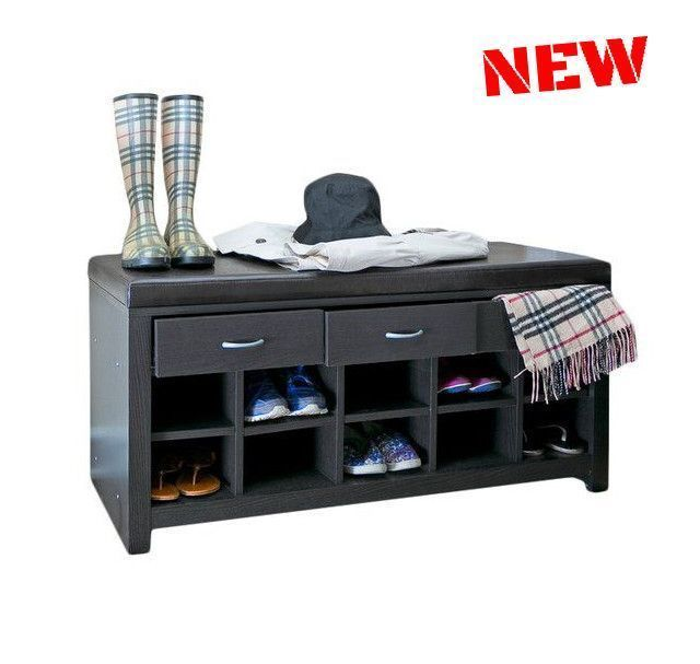 Small Storage Bench Ottoman Seat Cube Shelf Shoe Toy Drawer Wood Brown Furniture