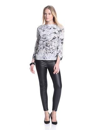 81% OFF Cacharel Women's Printed Draped Top (Grey/Black Multi)