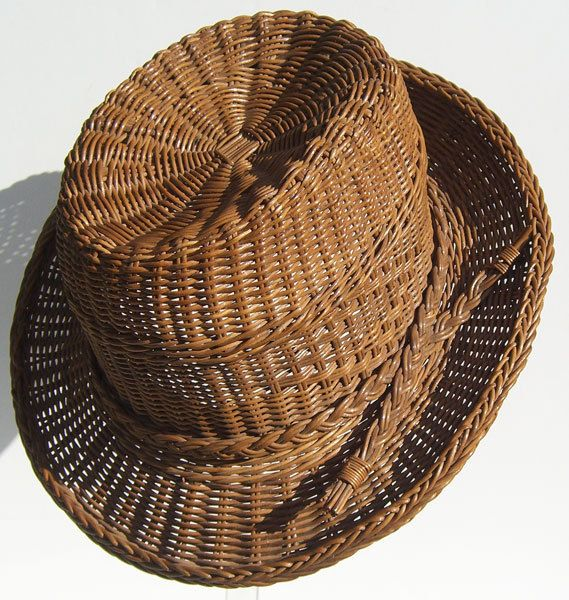 Vintage Mid Century Wicker Man's Summer Hat by... | Wicker Furniture  www.wickerparadise.com