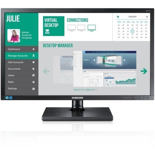 """Samsung Cloud Display NC241-TS All-in-One Zero Client - Teradici Tera2321 - Black. Processor Manufacturer:Teradici / Processor Type:Tera2321 / Screen Size:23.6"""" / Display Screen Type:Active Matrix TFT LCD. Screen Mode:Full HD / Screen Resolution:1920 x 1080 / Backlight Technology:LED / Graphics Memory Capacity:Up to 512 MB. DVI:Yes / Total Number of USB Ports:4 / Number of USB 2.0 Ports:4 / Network (RJ-45):Yes. Audio Line Out:Yes / VGA:Yes / Color:Black / Form Factor:All-in-One…"""
