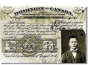 The 1920s was not only a bad time for the Aboriginals but also for the Chinese. The Chinese exclusion law was put into affect, and anybody who was Chinese or had come from a Chinese decent were affected by it. Unless they had a special circumstance, given to you by the minister of immigration they had to leave the country leaving all their property to be bid off to the highest bidder. If you were granted to stay here you had to pay a heavy head tax.
