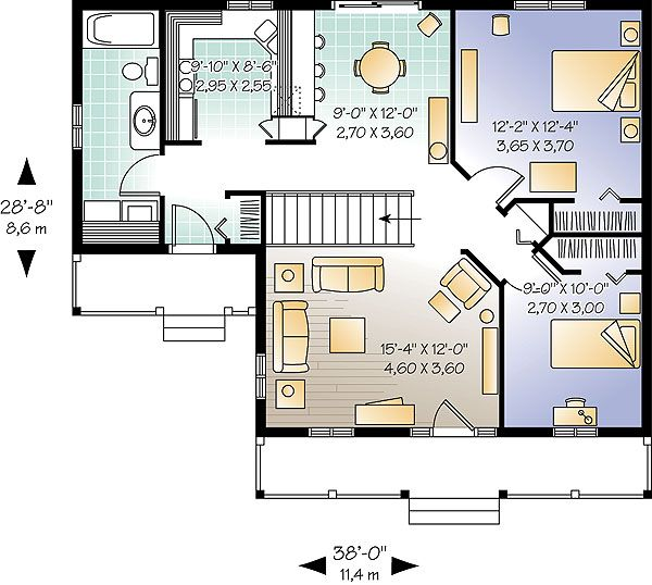 """""""Tiny"""" House.  Inland Cottage 2 House Plan - 1390.   Heated Area: 946 Sq. Ft.  First Floor: 946 Sq. Ft.  Width: 38 Ft.    Depth: 28 Ft.   Bedrooms: 2           Bath: 1  [interesting layout - side entryway enters into/near a bathroom, kitchen, laundry room, & closet, & main entryway enters into the living room]"""