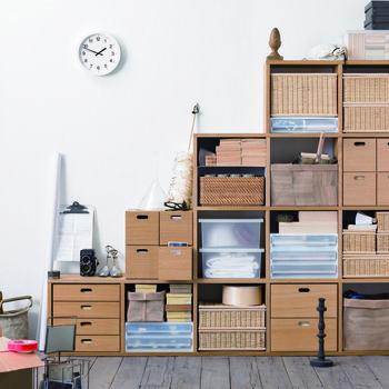 使ってる人も多いはず!無印のプラスチックケースを使った収納術を見て ... 木製のボックスと合わせて収納★ 籐製のボックスとクリアケース