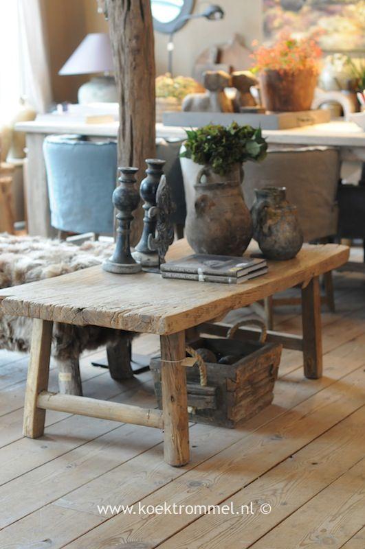 oude salontafel olmenhout