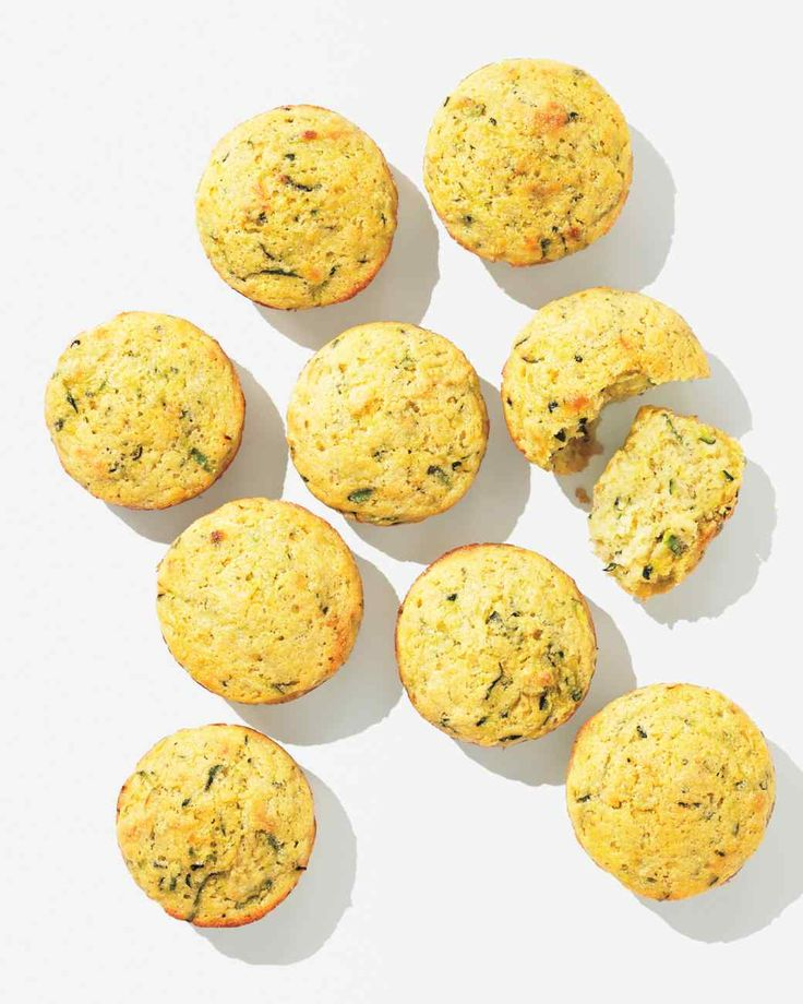 Zucchini Cornbread Muffins - use approx 2 cups total zucchini or a combo of shredded veg (carrot, kale, etc), replace 1/4 cup sugar with 1/4 applesauce.  Last time used 1/2 cup sour cream + 1/2 cup water instead of buttermilk and baked for 20 minutes.  Skewer came out easily but muffins were mutsy/too wet.  Reduce water or increase baking time next time.  Also add a little cinnamon.
