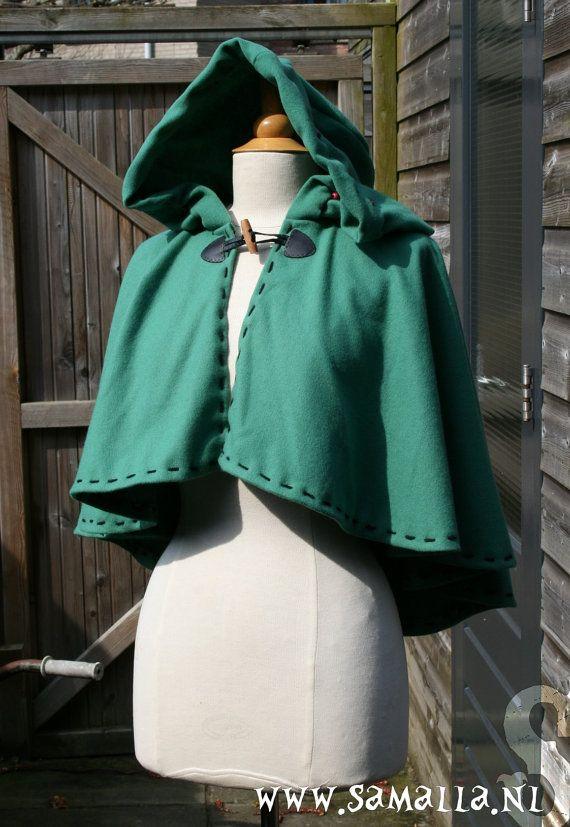 Little Green Riding Hood Wool hood cape or chaperon  by SamallaNL