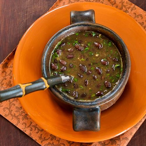 Spicy Vegan Black Bean Soup with Cilantro and Green Tabasco isn't much of a looker, but this is an amazingly delicious and healthful soup! [from Kalyn's Kitchen] #Vegan  #SouthBeachDiet  #GlutenFree