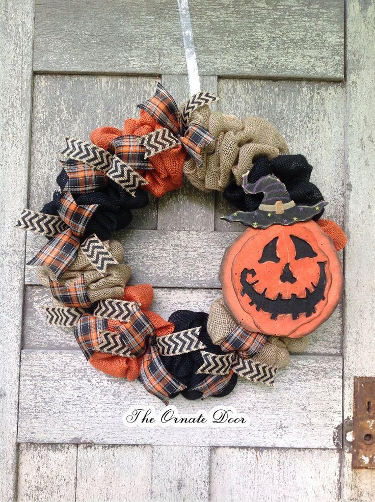Halloween wreath, jack o' lantern wreath, burlap Halloween wreath, orange and black wreath, farmhouse Halloween wreath, Halloween decor