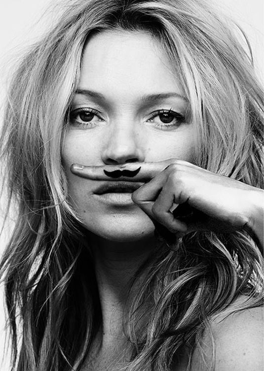 Kate Moss poster, 'Life is a joke, Mustache'. Photography created by the famous fashion photographer Craig McDean.