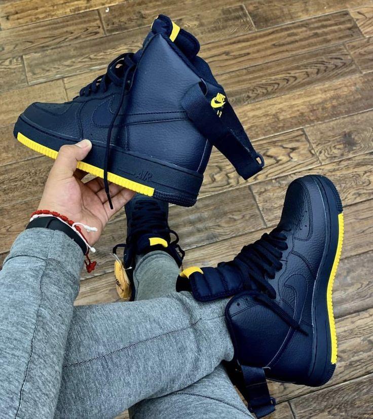 NIKE AIR FORCE 1 HIGH NAVY / MUSTARD BOTTOM   Nike shoes photo ...