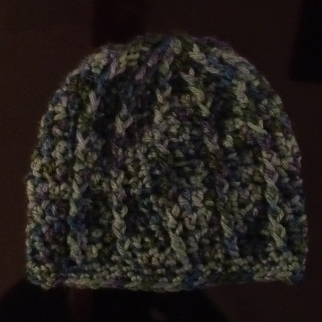 Crocheted ribbed hat for newborn.  Made for my grandson due on April.