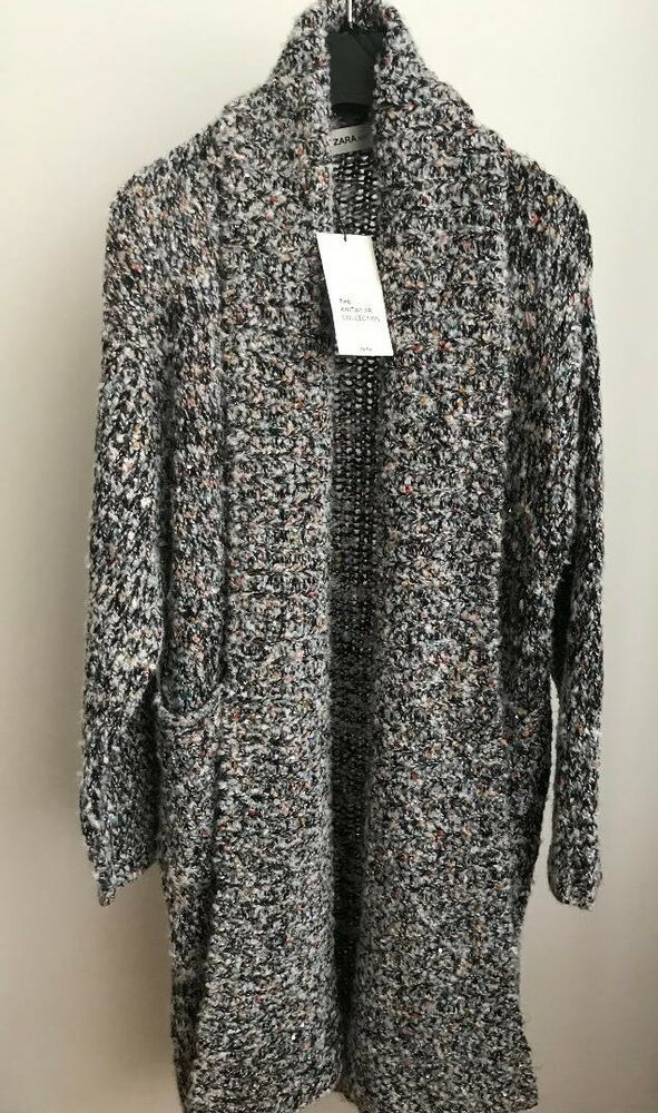 e13ad72d NWT ZARA KNIT COAT MULTICOLORED THREAD Sequins Long Sweater Size M ...