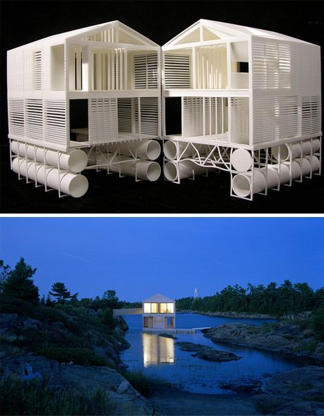 "From dornob.com: More like a floating home than a houseboat, this building exists at ""the intersection of a vernacular house typology with the shifting site-specific conditions of this unique place."" In short: it is not the go-anywhere houseboat that fits in nowhere, but the location-tethered home on the water that belongs to its environment."