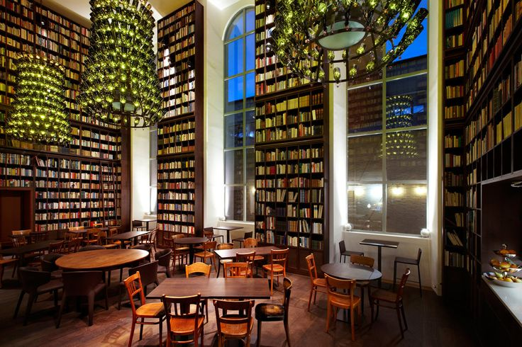 Wine Library at the B2 Boutique Hotel & Spa has 33,000 books on the bookshelves, Zurich, Switzerland, 2016
