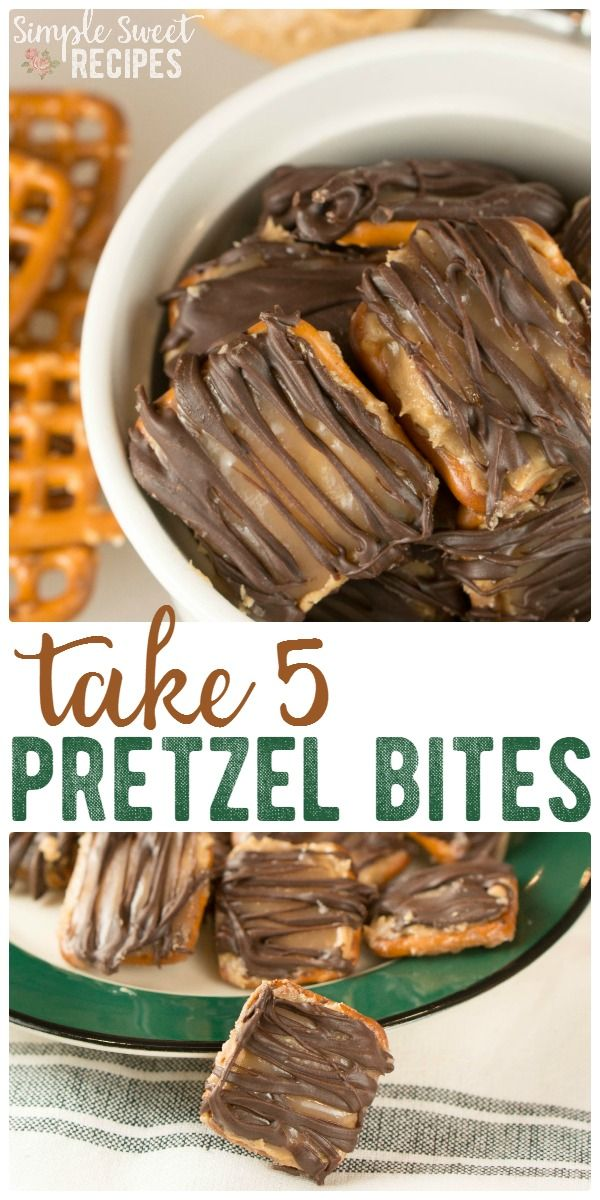 Make a homemade delicious Take 5 Candy Bars with this yummy, easy copycat Take 5 Pretzel Bites recipe! Layers of pretzels, peanut butter, caramel, and chocolate. via @simplesweetrecipes