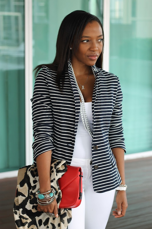 NuSophisticate: Striped Blazer + White Jeans + Busy Days