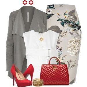 Grey and Red w/ Floral Skirt