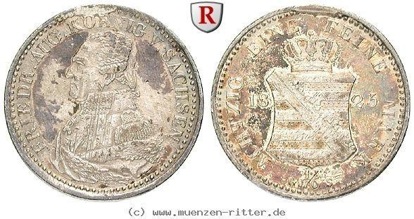 RITTER Königreich Sachsen, Friedrich August I.,1/6 Konventionstaler 1825 Dresden #coins