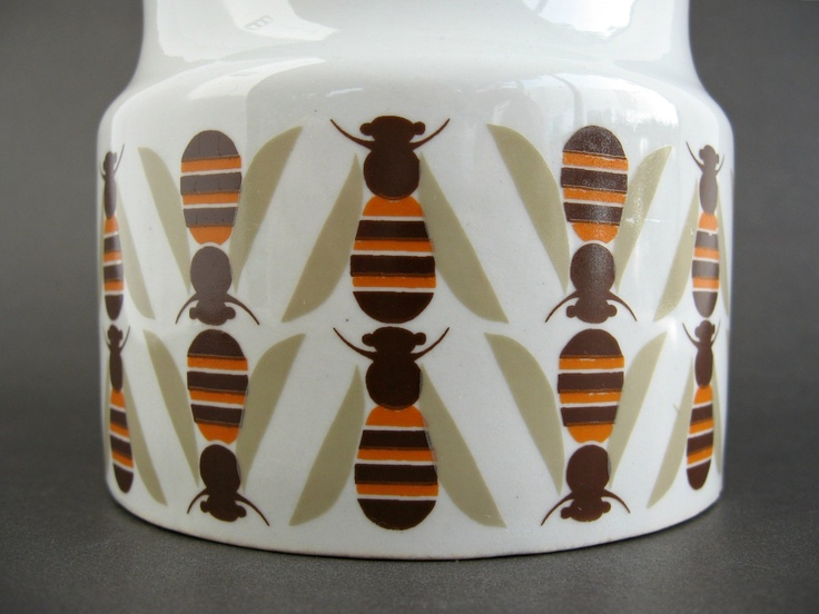 Arabia Finland Large Pomona Bee Pot / Honey Jam Pot / Scandinavian Modern. $85.00, via Etsy.