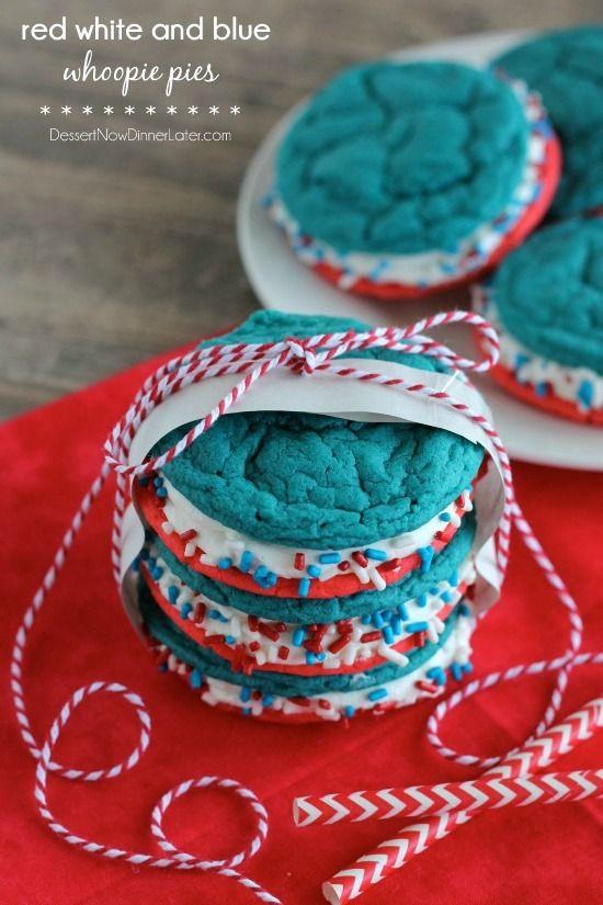 Red White and Blue Whoopie Pies | DessertNowDinnerLater.com #cookies #patriotic #redwhiteandblue #holiday #4thofjuly #whoopiepies #sandwichcookies