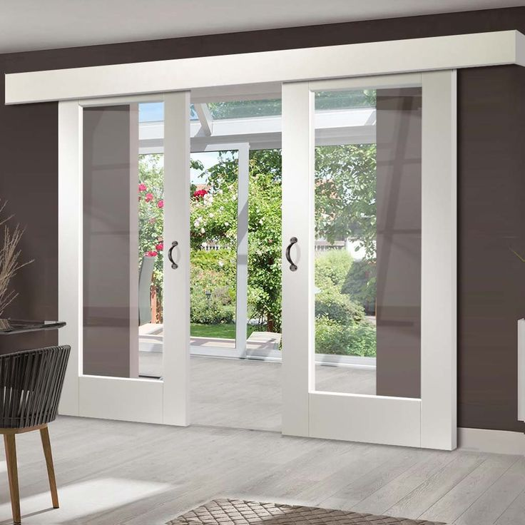 Thruslide Surface Pattern 10 1L - Sliding Double Door and Track Kit - Clear Glass - White Primed - Lifestyle Image