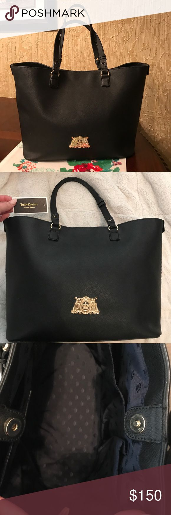 Black & Gold Juicy Couture Tote Purse Minor flaws only used a couple months. Has very dark navy interior with crown pattern. Gold Juicy Couture emblem on front of bag. Pretty big Tote. Juicy Couture Bags Totes