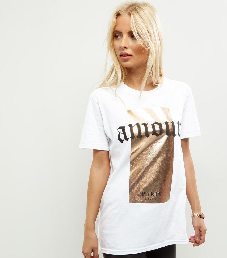 White Amour Foil Print T-Shirt. Foil PrintsNew LookPrint ...