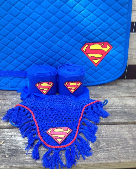 Superman Logo Embroidered Set Saddle Pad by TheHoundstoothHorse, $95.00