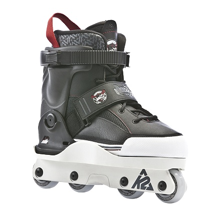 The Varsity 2013   One of the lightest aggressive skates ever made, and it's hands-down the most comfortable aggressive skate ever built. It features K2's proven Aggressive cuff and frame, along with a wide Soulplate that makes boot-based tricks and locking onto rails easier than ever. A shock-absorbing heel and stiffened upper create a platform that makes landing the biggest of gaps a painless experience.