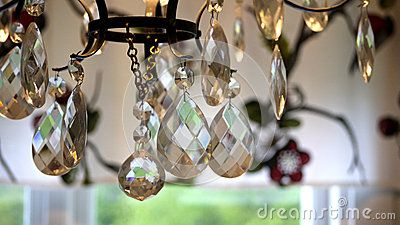 Close up picture on a crystal chandelier.