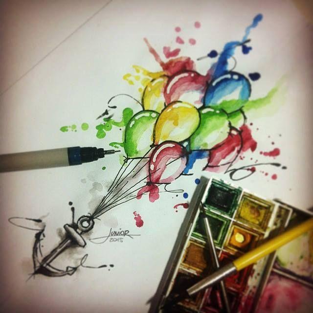 Balloon and anchor - watercolor