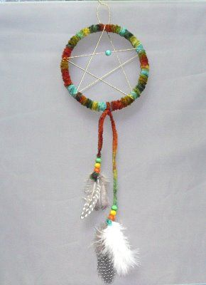 DIY Dreamcatchers using recycled lids, leftover yarn and string, and scavenged beads.  You could pre-cut feather shapes from scraps of paper/cardstock, too.
