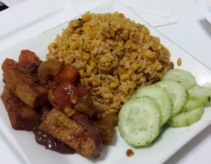 Arroz con Maiz, Tofu Guisado and Cucumber Salad