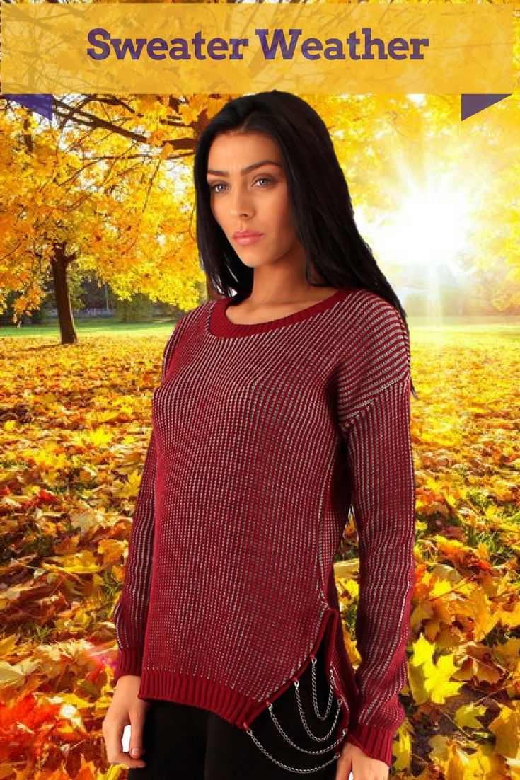 It's sweater time! stay warm in stylist sweater with chain detail - Order at https://theotherrealmclothing.com/collections/knitwear #autumntrends #autumn2017 #sweaterseason #sweaterweather