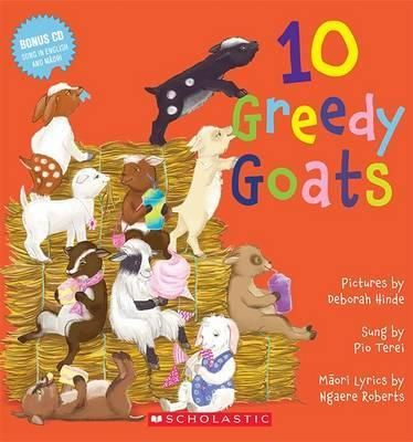 10 greedy goats by Pio Terei, Ngaere Roberts. Illustrated by Deborah Hinde. Maori and English audiobook