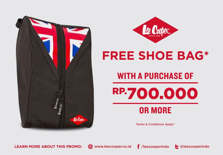 Get Free Lee Cooper Shoe Bag!  What is one of the most essential fashion items for both men and ladies? Shoes? Yes, of course. This month of the year, we will give you free Lee Cooper Shoe Bag for your companion while you are traveling. Your shoes will be well kept in a very great quality of Lee Cooper Shoe Bag. This is free, with minimum purchase of Rp. 700.000.
