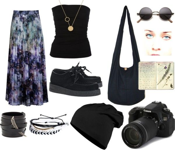 """""""Summer Goth Hippie."""" by maskeddragonfighter on Polyvore. I may be able to pull off that skirt...but oh my hips"""