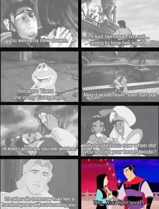 Disney Princesses & Princes. Love this!!!! Mulan's is hilarious!!!