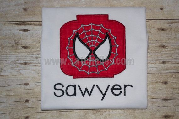 Professional Embroidered Lego Spiderman Shirt, Message for Custom Order FREE SHIPPING