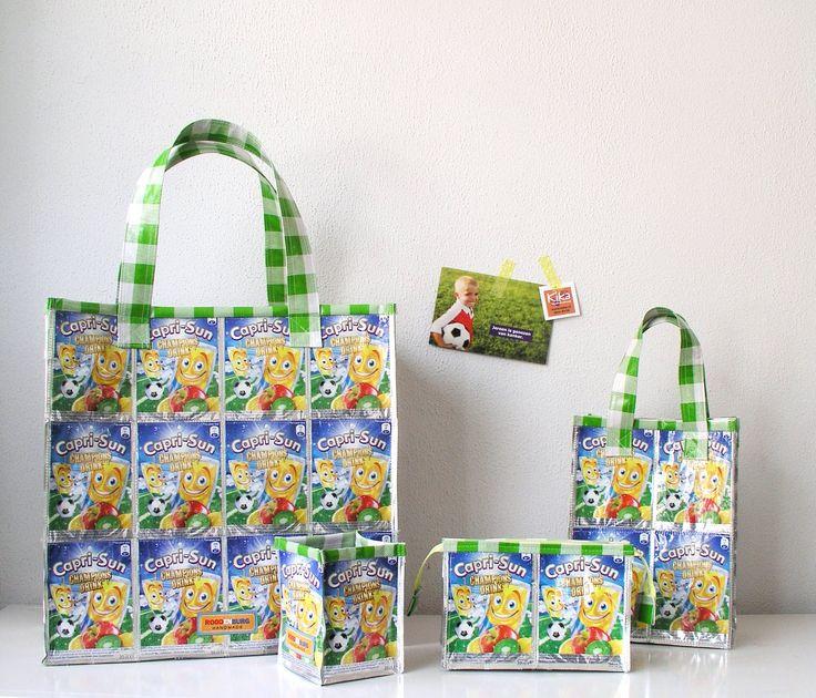 Leuke producten gemaakt van lege Capri Sun drinkpakjes, leeg gedronken door kinderen op school. Goed voor het milieu maar ook voor een goed doel namelijk KiKa http://www.studioroodenburg.nl/