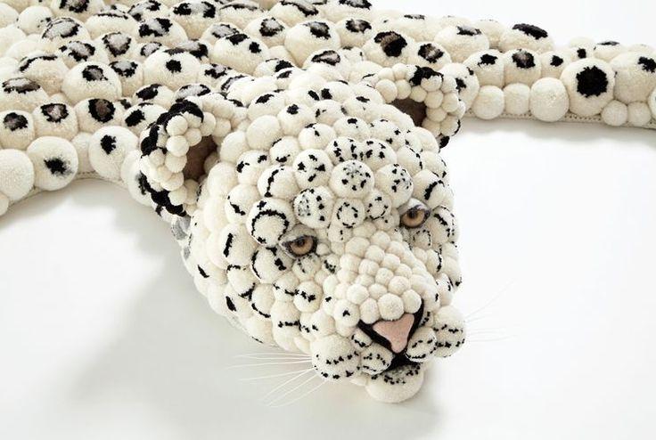 коврик из помпонов в виде леопардовой шкуры 02