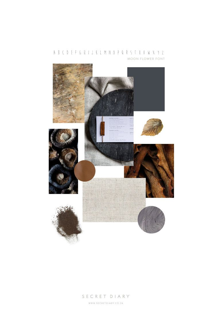 Monday Moodboard 2 - Down to Earth | A textured white menu with engraved leather piece with guest name | www.secretdiary.co.za